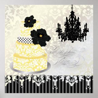 PixDezines desiree damask cake+chandelier Poster