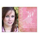 PixDezines Desiree Damask/Vintage+Pink Invitations