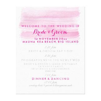 PixDezines digital watercolor wedding program Canvas Print
