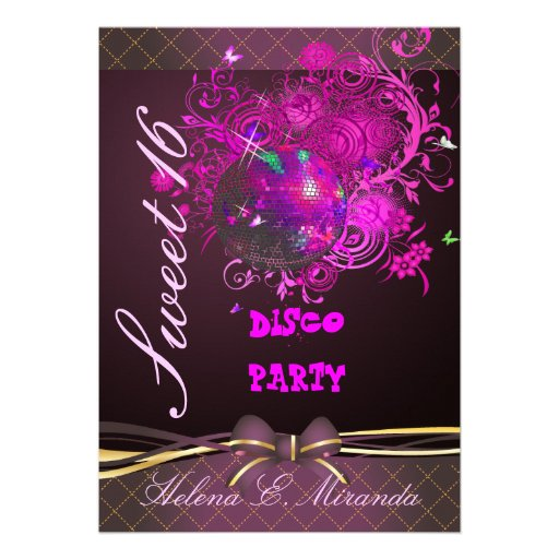 PixDezines Disco Ball Sweet 16/ princess/tiara Invitations