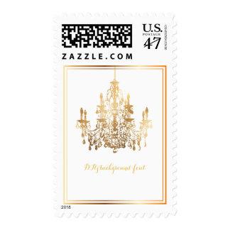 PixDezines DIY background/classic gold chadelier Stamp
