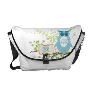 PixDezines diy background color/blue owl Courier Bag