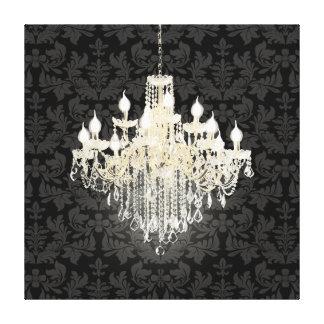 PixDezines diy background color/crystal chandelier Stretched Canvas Print