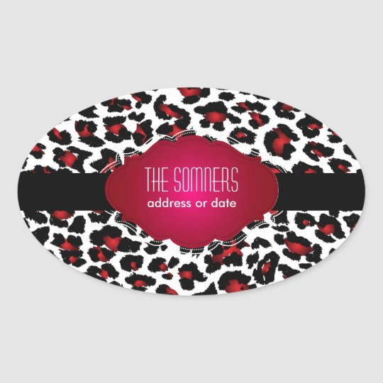 PixDezines DIY background color/red cheetah Oval Sticker