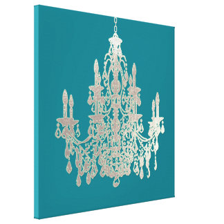 PixDezines DIY Background Color/Silver Chandelier Canvas Print