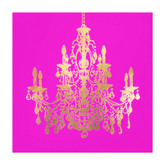 PixDezines DIY Background/Faux Gold Chandelier Canvas Print