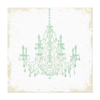 PixDezines DIY Background/Mint Green Chandelier Canvas Print