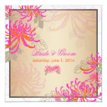 PixDezines diy background/neon pink mums 5.25x5.25 Square Paper Invitation Card