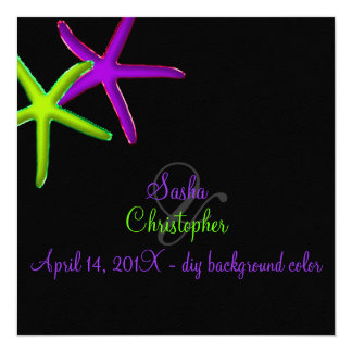 PixDezines diy background/Neon Starfish/Beach Card