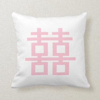 PixDezines diy background/pink double happiness Throw Pillow