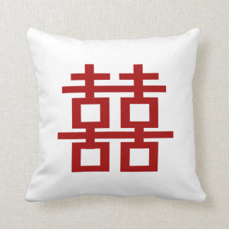 PixDezines diy background/red double happiness Pillow