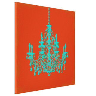 PixDezines DIY Background/teal chandelier Canvas Print