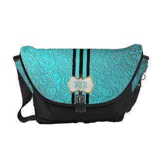 PixDezines diy color, blue fidora damask/monogram Messenger Bag