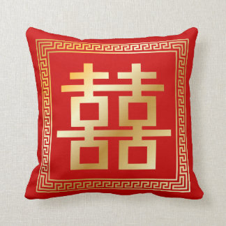 PixDezines diy color/faux gold double happiness Pillow
