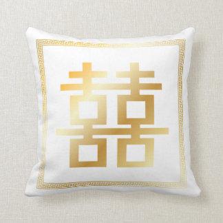 PixDezines diy color/faux gold double happiness Throw Pillow