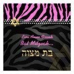 PixDezines diy color, Hot Pink Zebra, Bat Mitzvah Invite