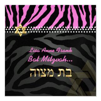PixDezines diy color, Hot Pink Zebra, Bat Mitzvah 5.25x5.25 Square Paper Invitation Card