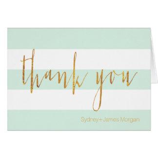 PixDezines DIY color/mint+white+stripes thank you Card