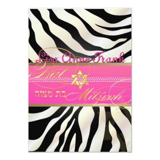PixDezines DIY color/natural Zebra, Bat Mitzvah 5x7 Paper Invitation Card