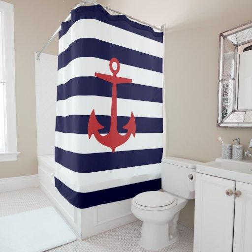 Pixdezines Diy Color Nautical Stripes Red Anchor Shower Curtain Zazzle