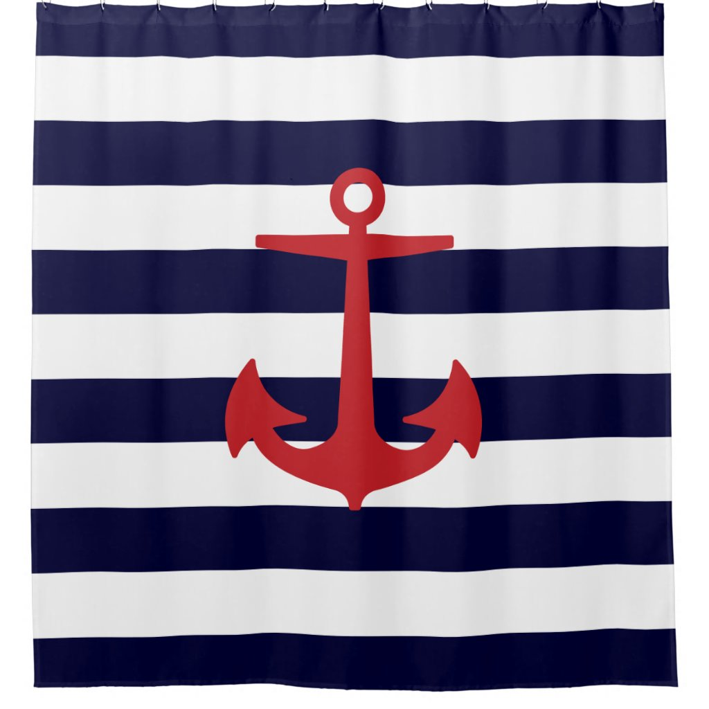 PixDezines DIY color Nautical Stripes/Red Anchor