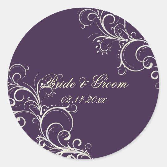 PixDezines DIY color/Plum pearl swirls wedding Classic Round Sticker