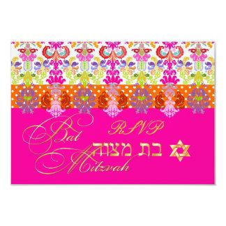 "PixDezines diy color/rsvp isabella, Bat Mitzvah 3.5"" X 5"" Invitation Card"