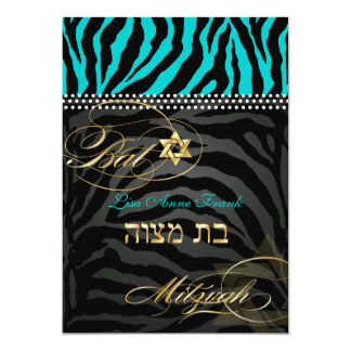 PixDezines DIY color Teal Zebra, Bat Mitzvah 5x7 Paper Invitation Card