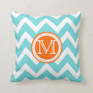 PixDezines diy colors chevron/aqua+coral stripes Throw Pillow