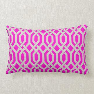 PixDezines diy colors/kew trellis/pink+fuschia Lumbar Pillow
