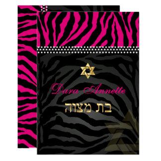 PixDezines DIY colors Pink Zebra, Bat Mitzvah Card