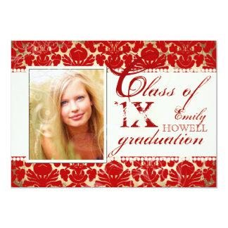 PixDezines diy text colors/2012 Grads, damask 5x7 Paper Invitation Card