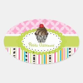 PixDezines double fudge  swirls cupcake/DIY color Oval Sticker