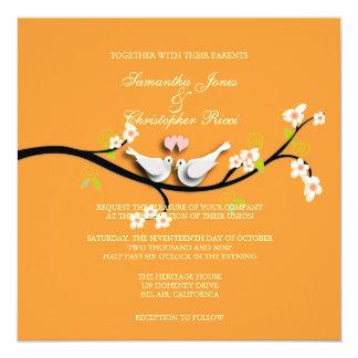 PixDezines doves/love birds/diy color 5.25x5.25 Square Paper Invitation Card