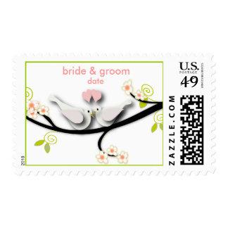 PixDezines doves/love birds/pink hearts Postage Stamp