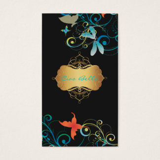PixDezines Dragonflies Butterflies Rainbow Swirls Business Card