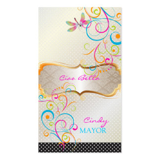 PixDezines Dragonflies Rainbow Swirls Business Card
