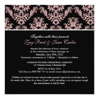 PixDezines Dusty Rose/Celeste Damask/diy color 5.25x5.25 Square Paper Invitation Card