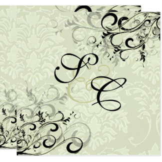 PixDezines EBONY SWIRLS/IVORY BAROQUE DAMASK Card