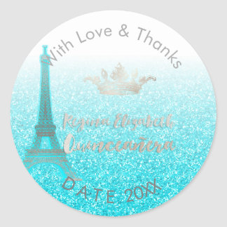 PixDezines Eiffel azul/15/DIY dulce le agradece Pegatina Redonda