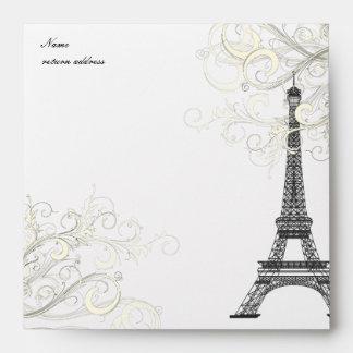 PixDezines Eiffel Vanilla Swirls/Black + Vanilla Envelope