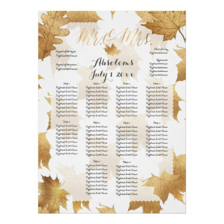 PixDezines Fall Foliage/Faux Gold/Seating Chart Poster