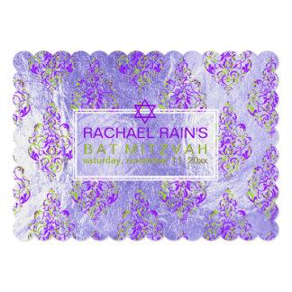 PixDezines faux foil/tunis damask bat mitzvah Card