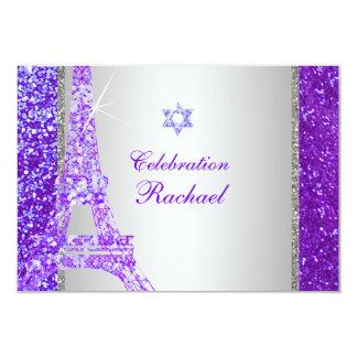 PixDezines faux glitter eiffel/mitzvah celebration 3.5x5 Paper Invitation Card