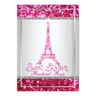 PixDezines faux glitter eifflel/pink ruby/sweet 16 Card