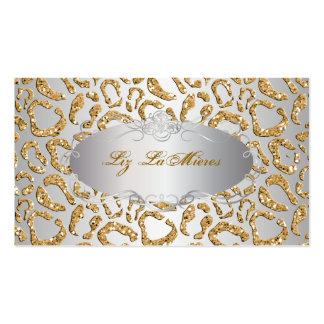 PixDezines faux glitter jaguar/faux silver Business Cards