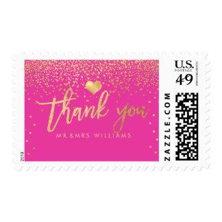 PixDezines Faux Gold Confetti/Thank You Postage