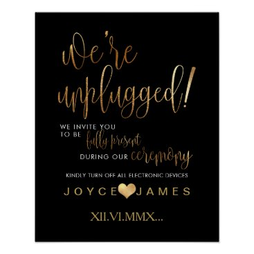 Beach Themed PixDezines Faux Gold/DIY #UNPLUGGED CEREMONY Poster