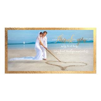 PixDezines faux gold frame/thank you wedding photo Card