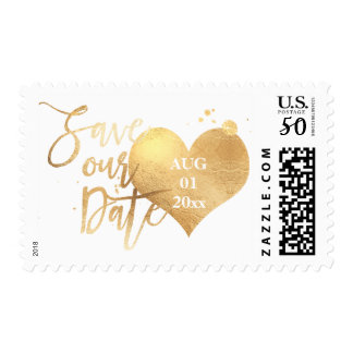 PixDezines Faux Gold Heart/Save Date/DIY color Postage